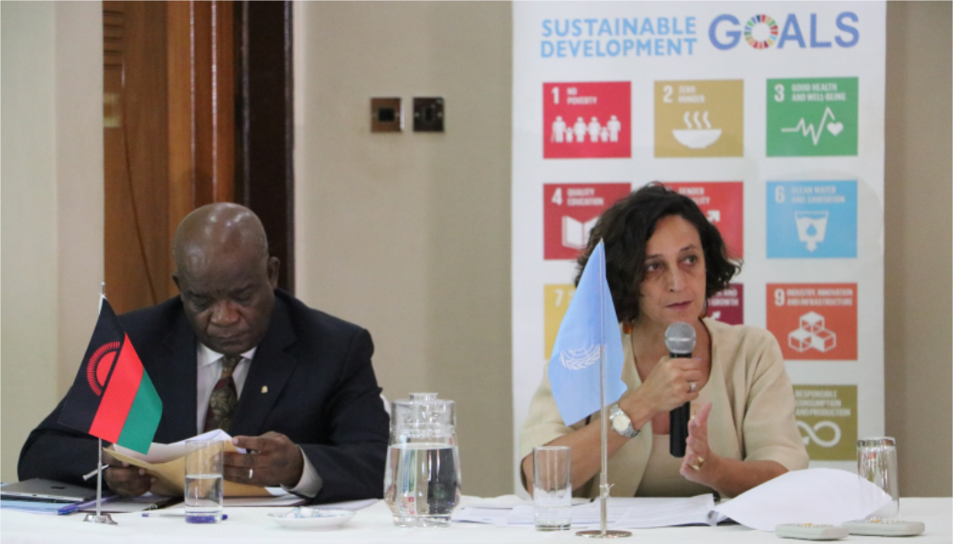Chief Secretary to the Government of Malawi Lloyd Muhara (L) and UN Resident Coordinator Maria Jose Torres co-chairing the JSM