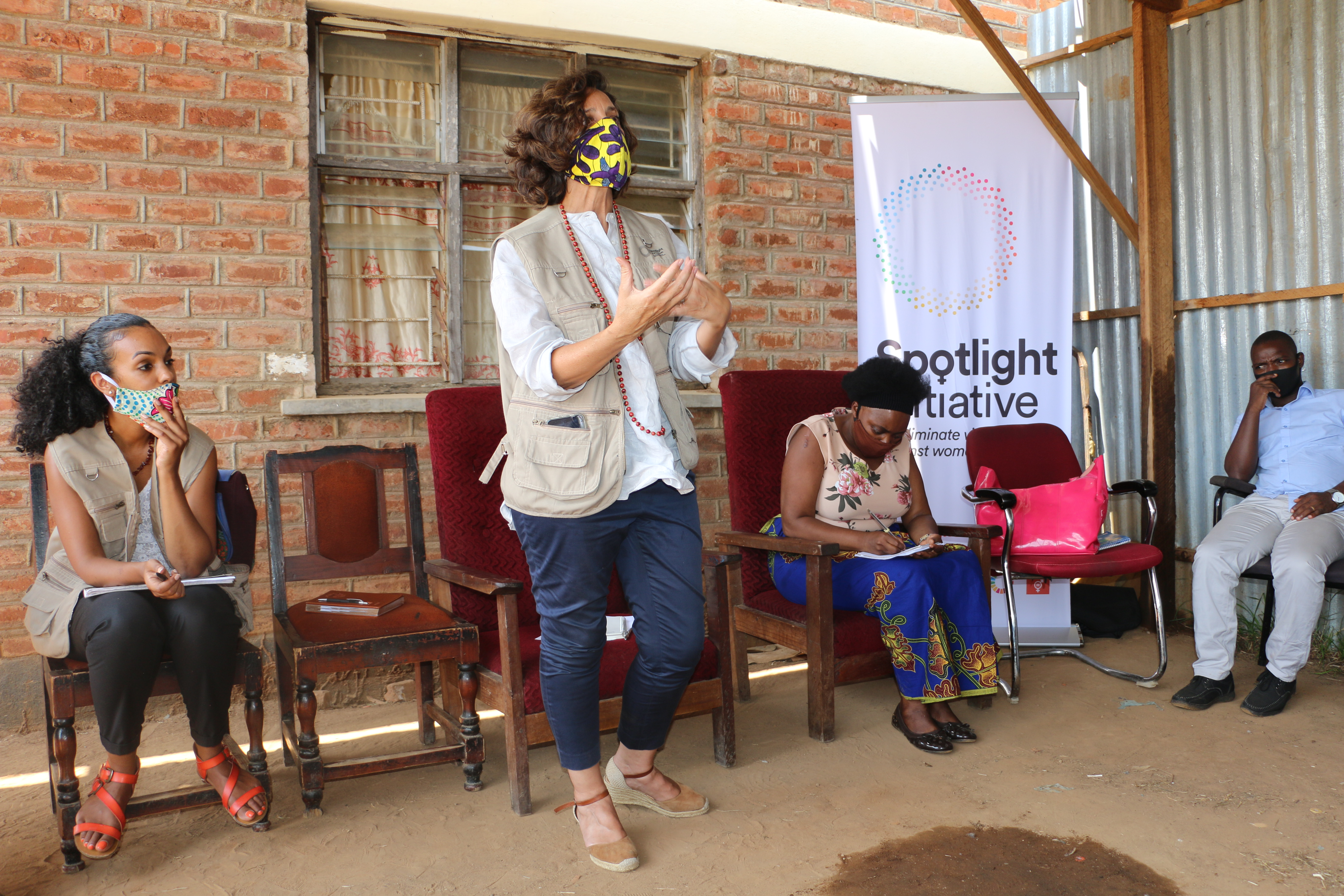 UN Resident Coordinator Maria Jose Torres during a Chief council meeting in Ntchisi