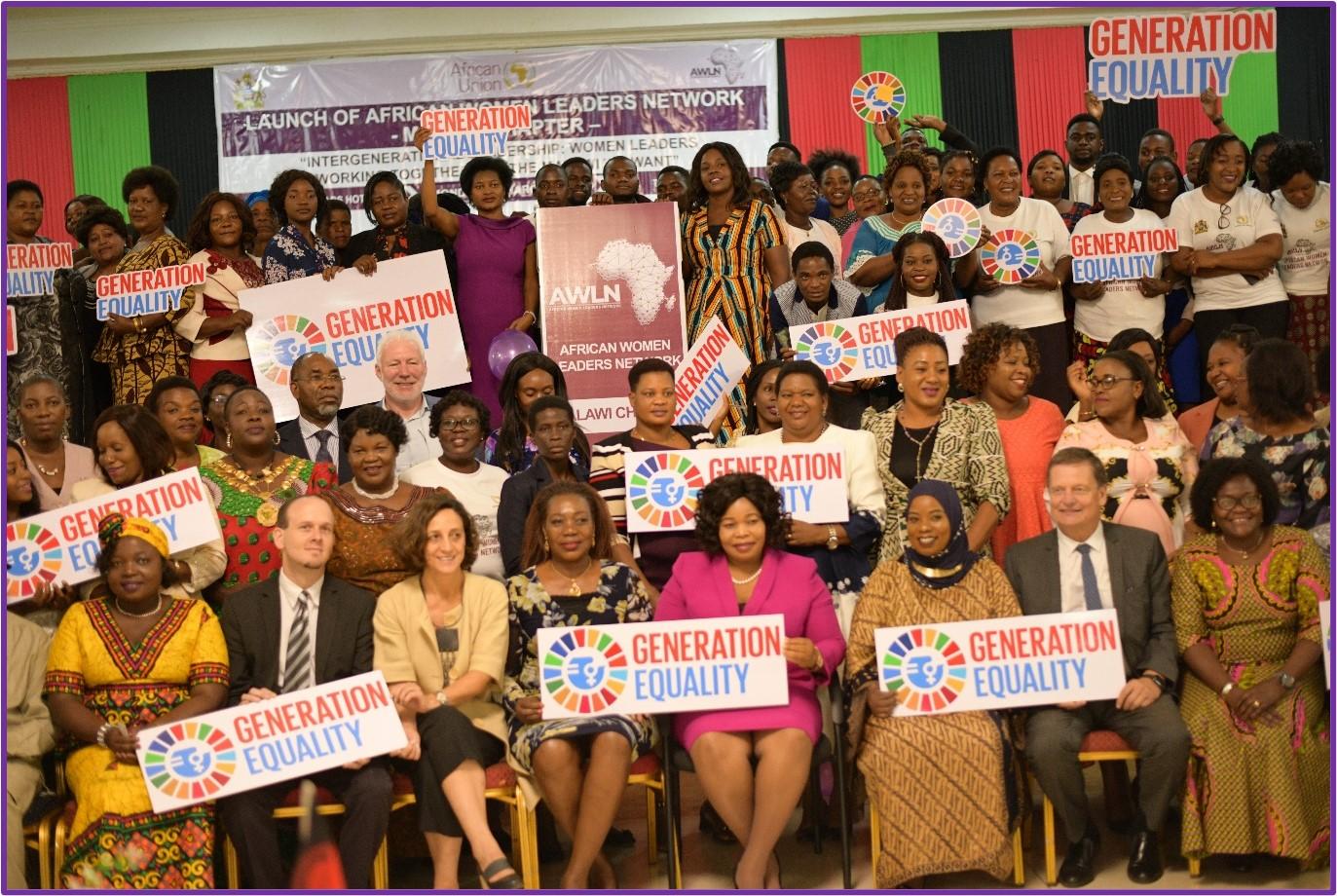 Lilongwe, 2 March 2020, Group Photo after launch of AWLN Malawi Chapter. Photo credit: UN Women Malawi
