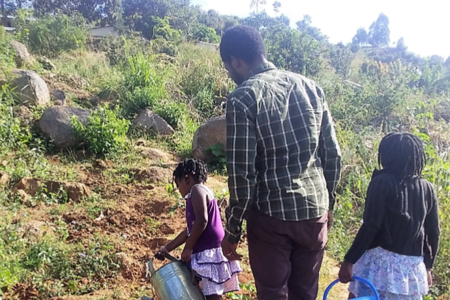 Five-year-old Mathando and nine-year-old Maziko watering vegetables with their father